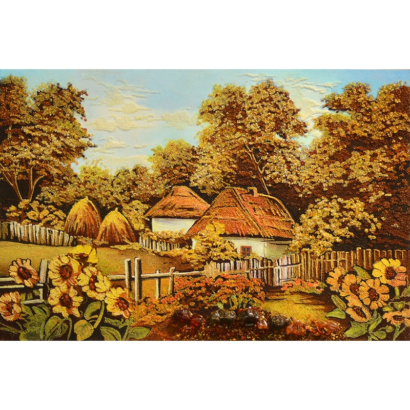 Пейзаж з бурштину в подарунок Українське село