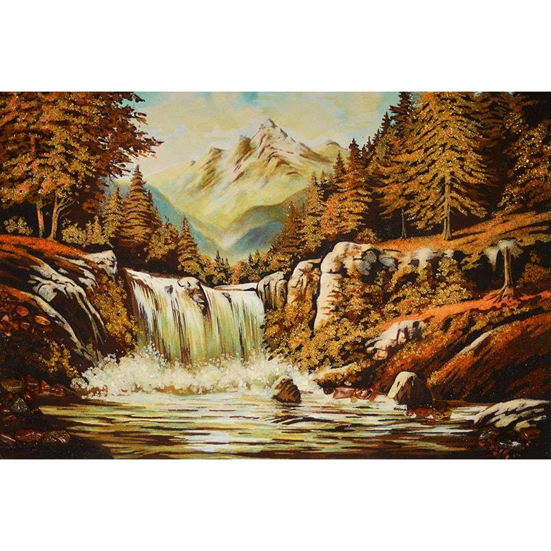 Пейзаж из янтаря в подарок Водопад