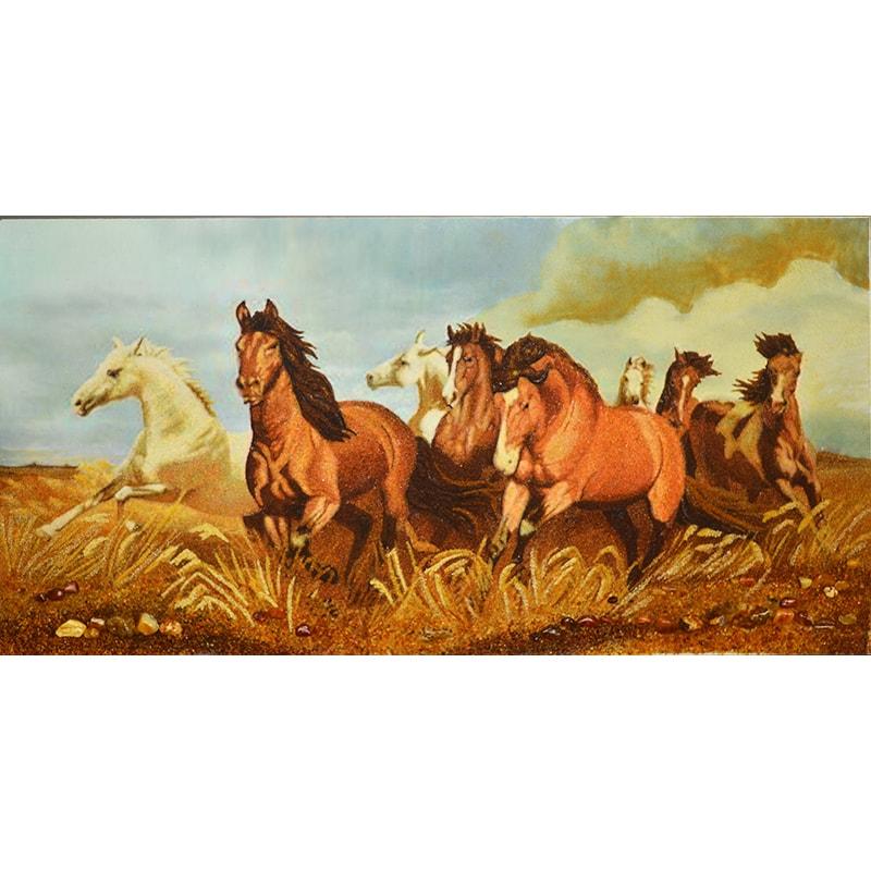 Панно из янтаря в подарок Лошади