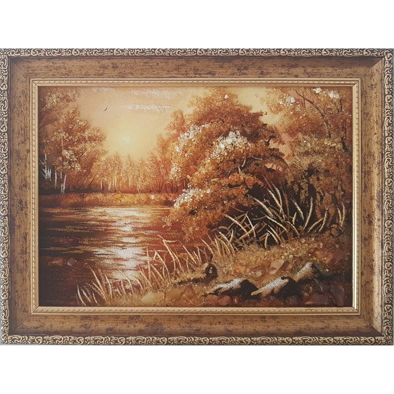 Пейзаж картина из янтаря в подарок Гармония