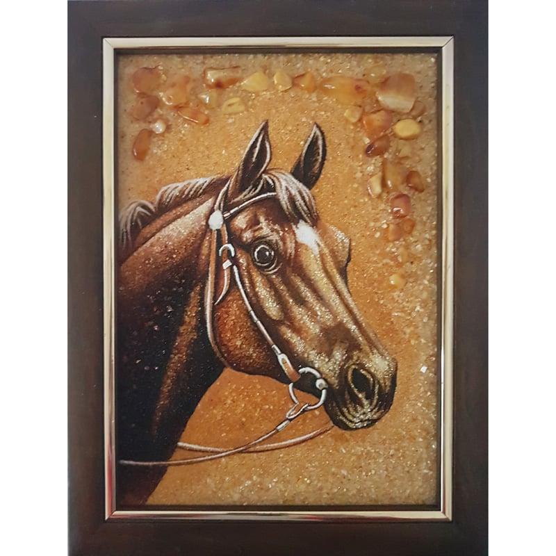 Картина в янтаре в подарок Скакун