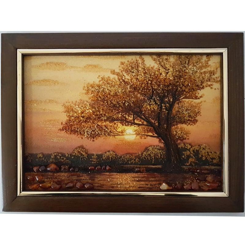 Картина пейзаж из янтаря в подарок Старый дуб