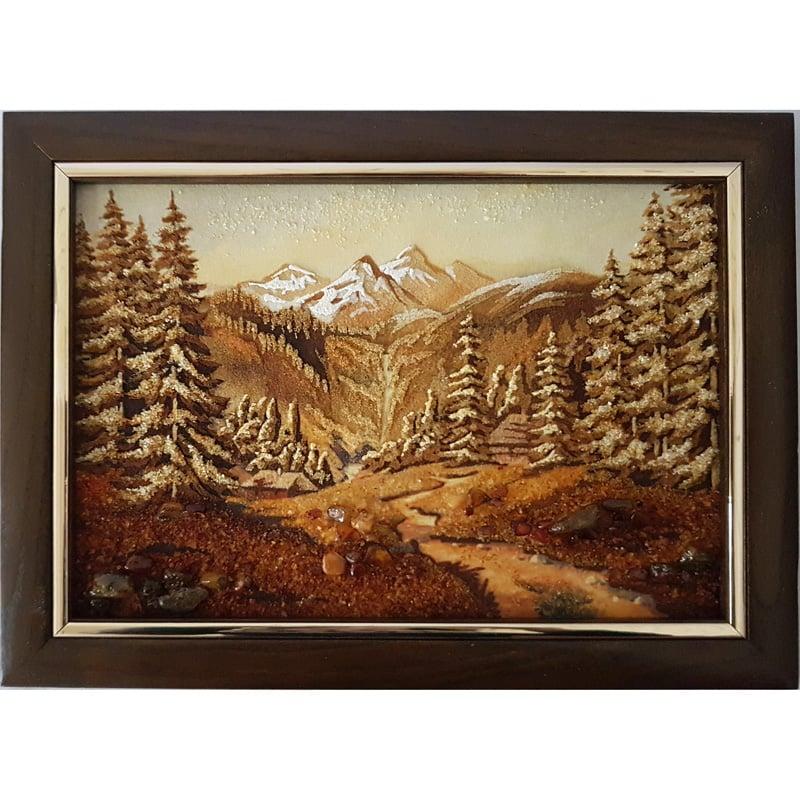 Дизайнерское панно из янтаря в подарок Горы