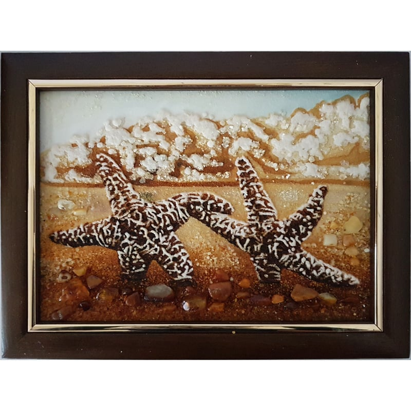 Дизайнерская картина из янтаря Морские звезды