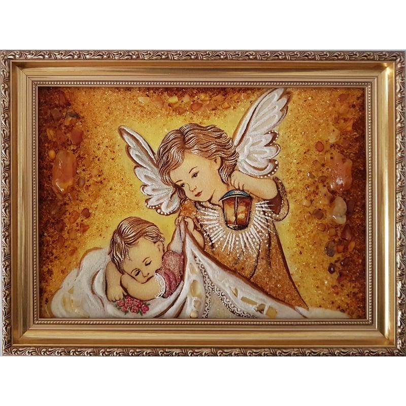 Картина в янтаре в подарок Ангел Хранитель