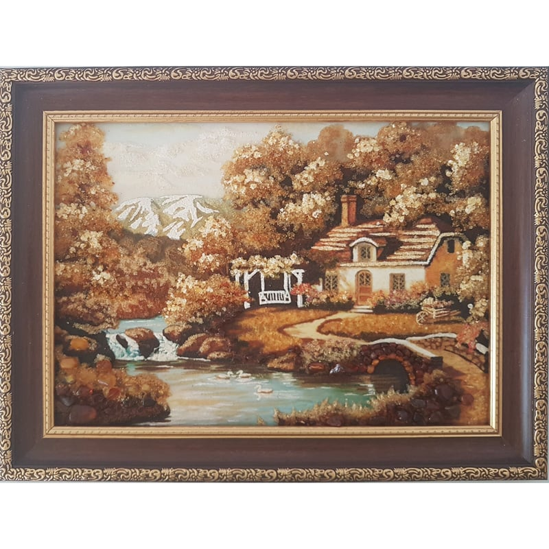 Пейзаж картина из янтаря в подарок Дом с беседкой