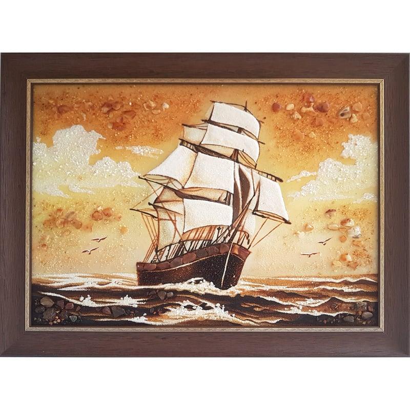 Авторская картина из янтаря в подарок Бригантина