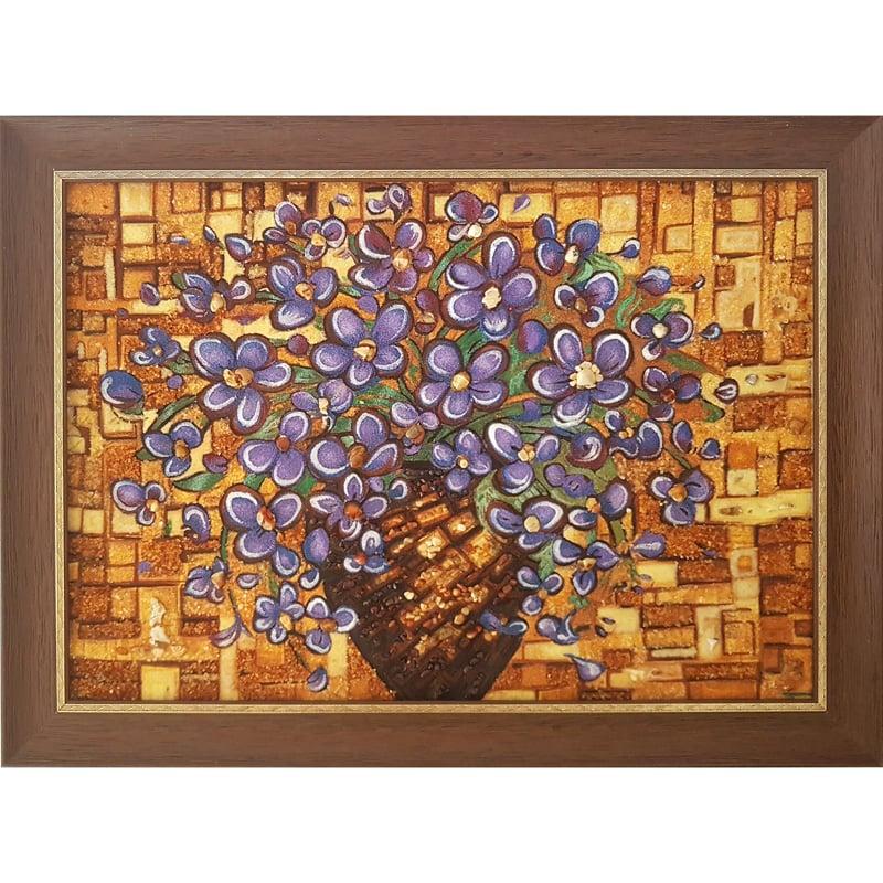 Картина в янтаре handmade Фиалки