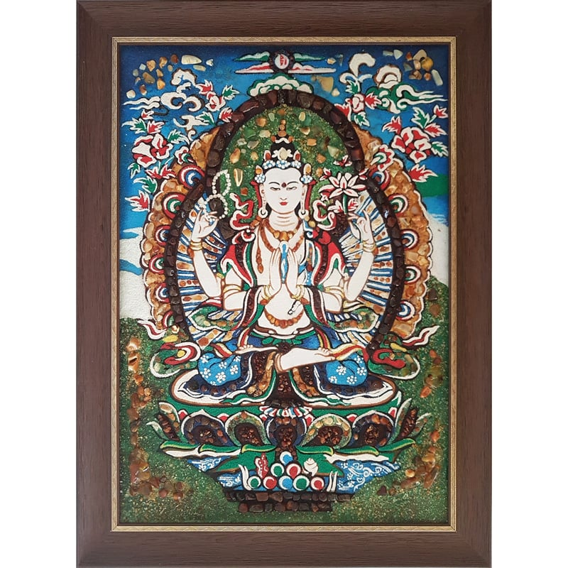 Авторская картина из янтаря ручной работы Будда
