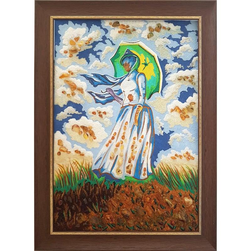 Картина из янтаря ручной работы в подарок Янтарное Лето