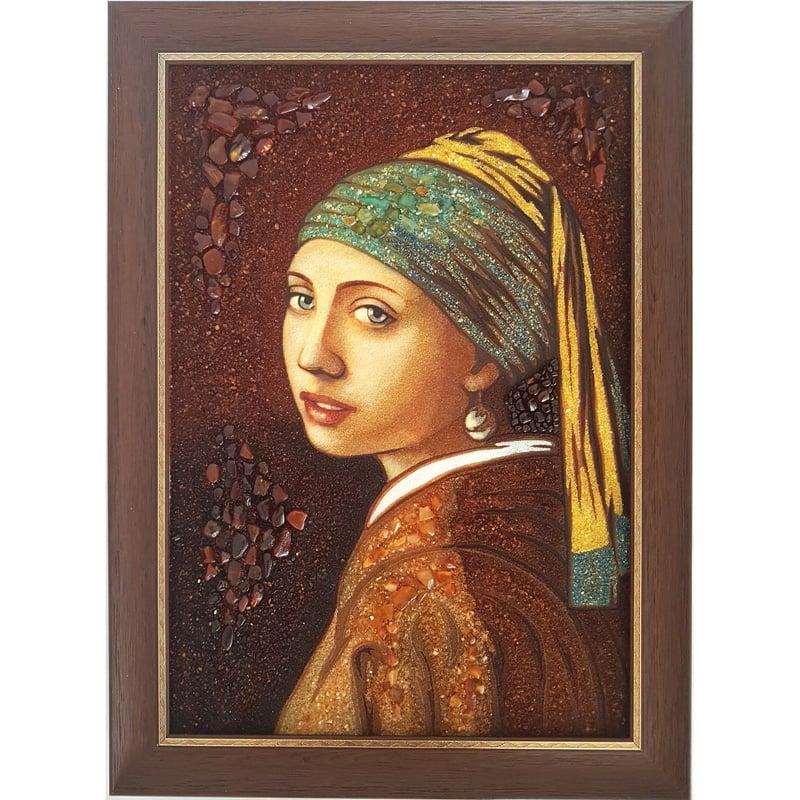 Картина из янтаря Девушка с жемчужной сережкой Ян Вермеер