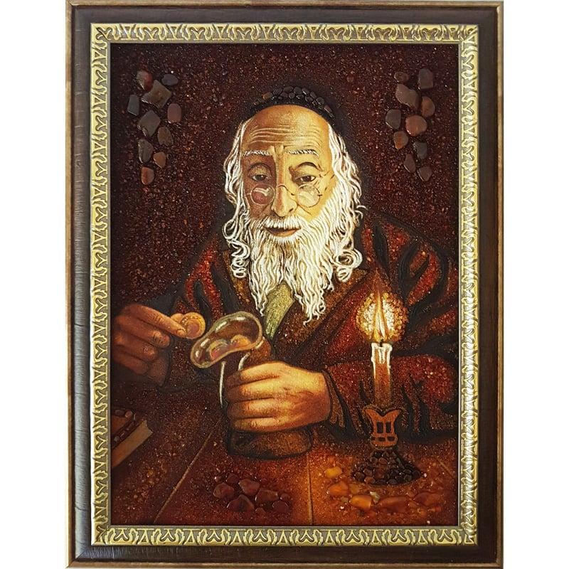 Авторская картина из янтаря Еврей с монетами на счастье