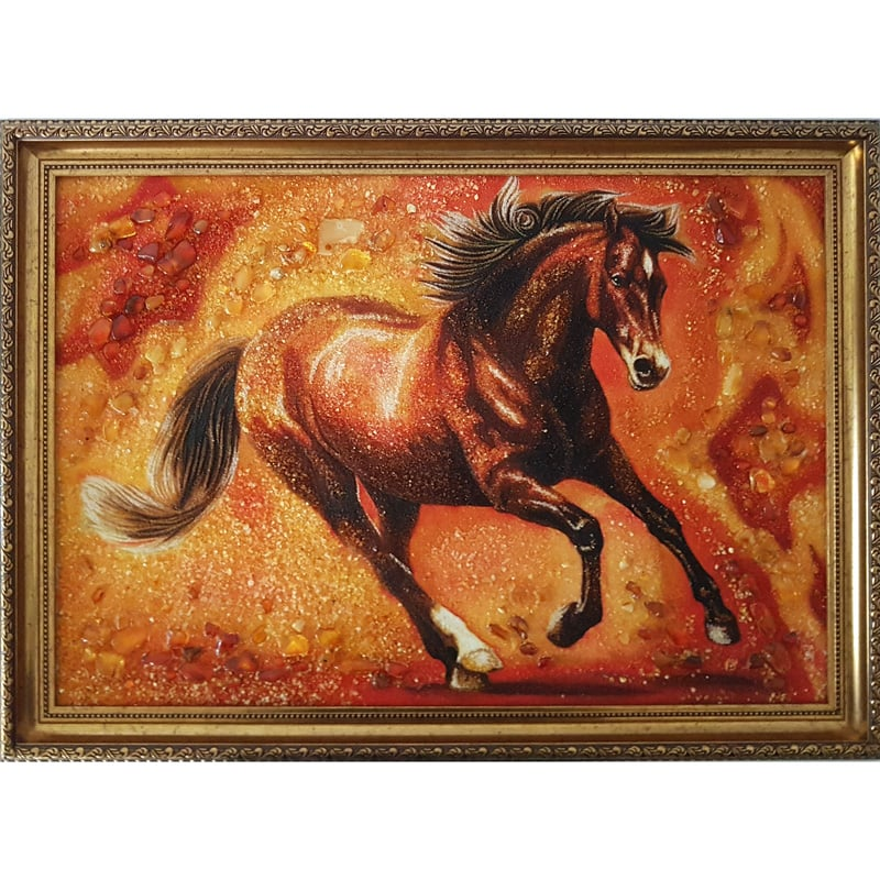 Дизайнерская картина с янтарем Красный Конь