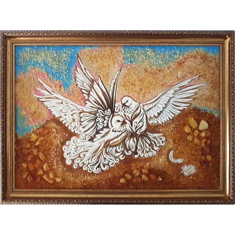 Дизайнерское панно из янтаря ручной работы Голуби