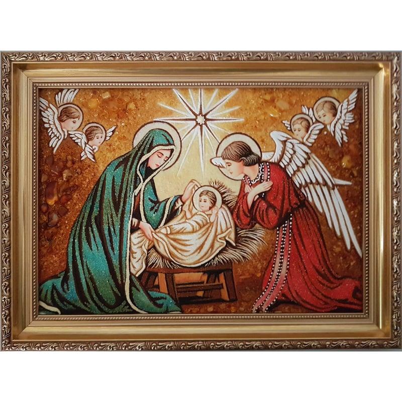 Картина из янтаря Рождество