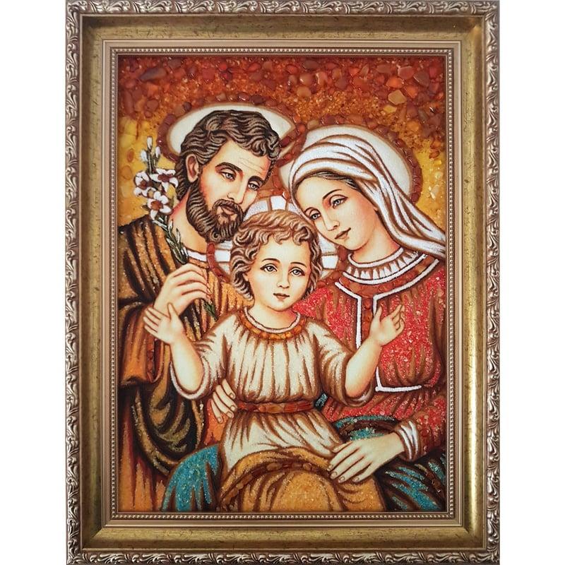 Янтарная икона ручной работы Святое Семейство