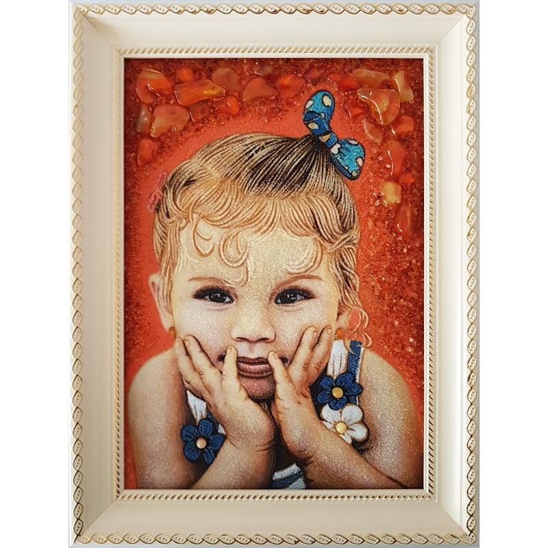 Дизайнерский личный портрет из янтаря в подарок Именной