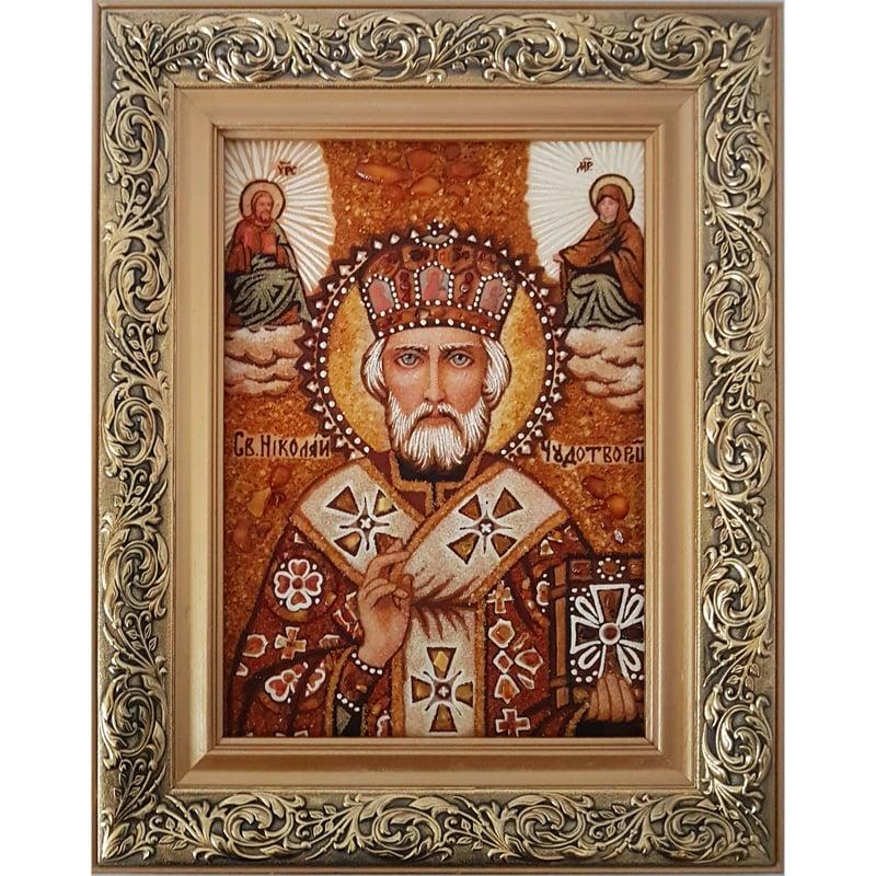 Авторська ікона в бурштині в подарунок Святий Миколай