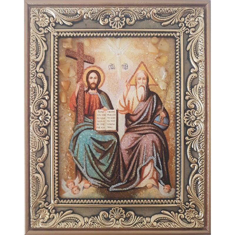 Авторская икона из янтаря ручной работы Троица