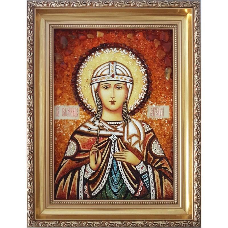 Икона из янтаря в подарок Святая Варвара