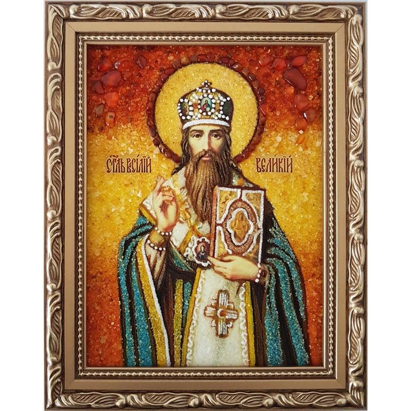 Икона в подарок из янтаря Святой Василий