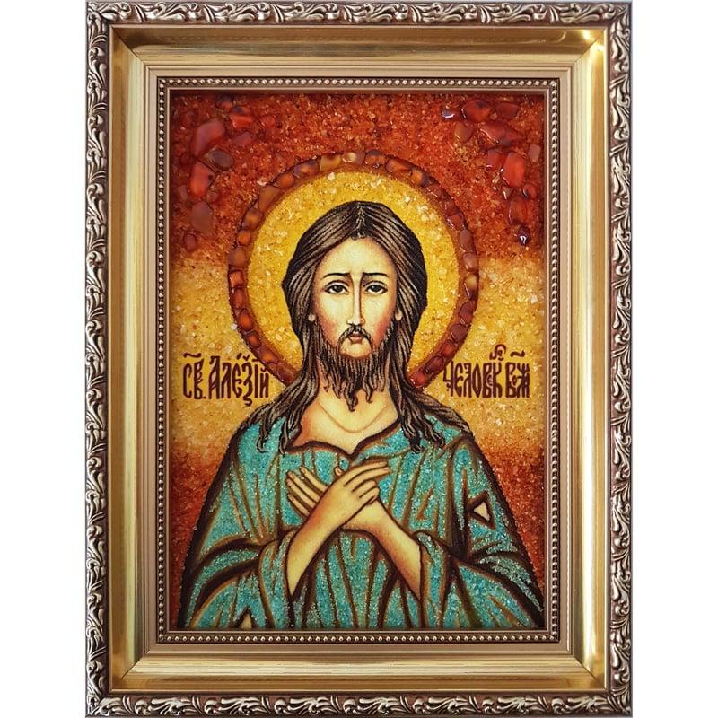 Икона ручной работы из янтаря Святой Алексей