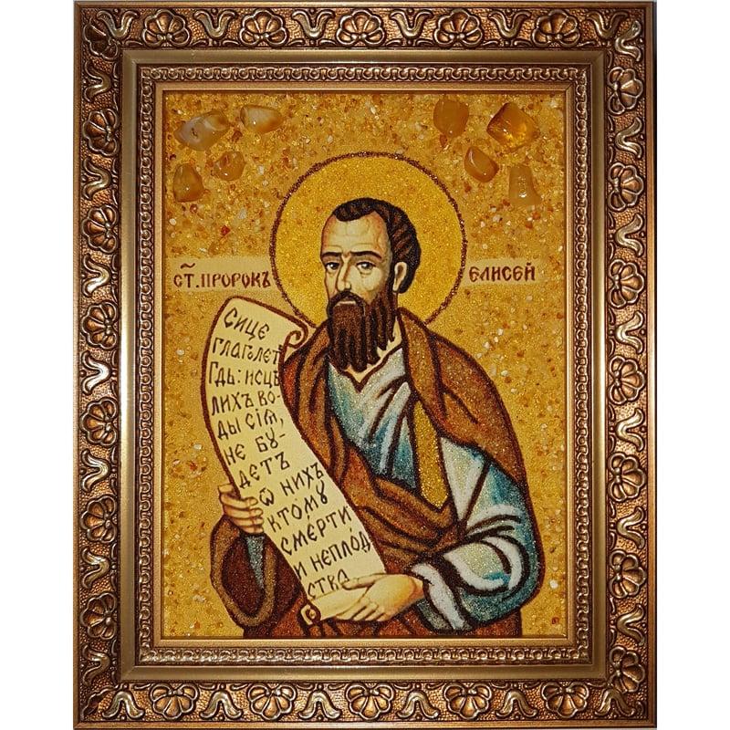 Авторская икона из янтаря Пророк Елисей