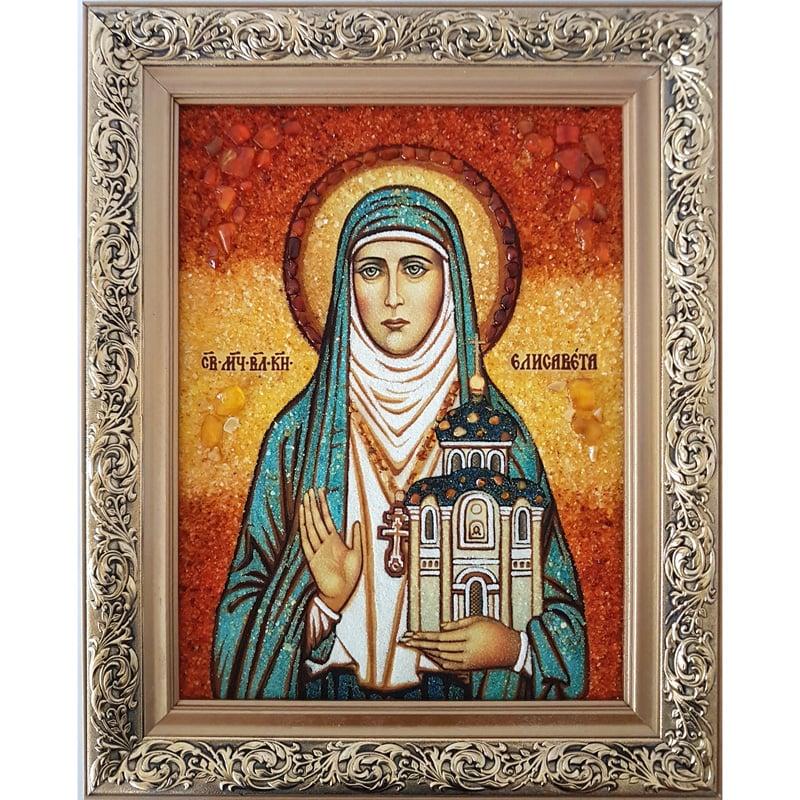 Икона оберег из янтаря Святая Елизавета