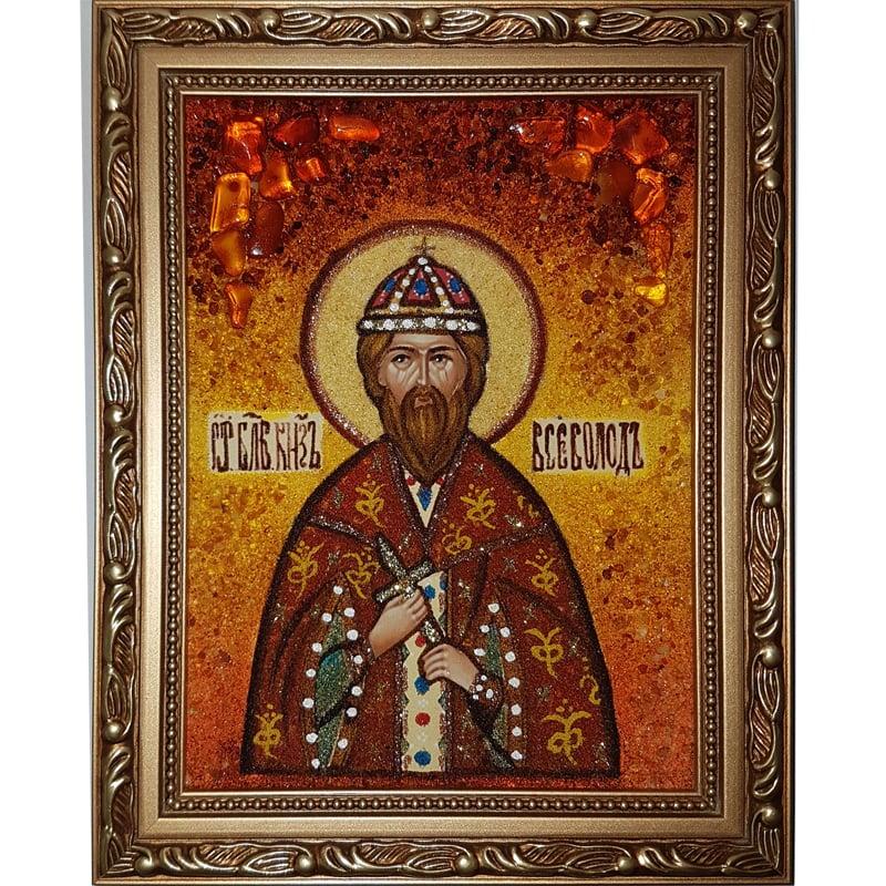 Икона из янтаря ручной работы Святой Всеволод