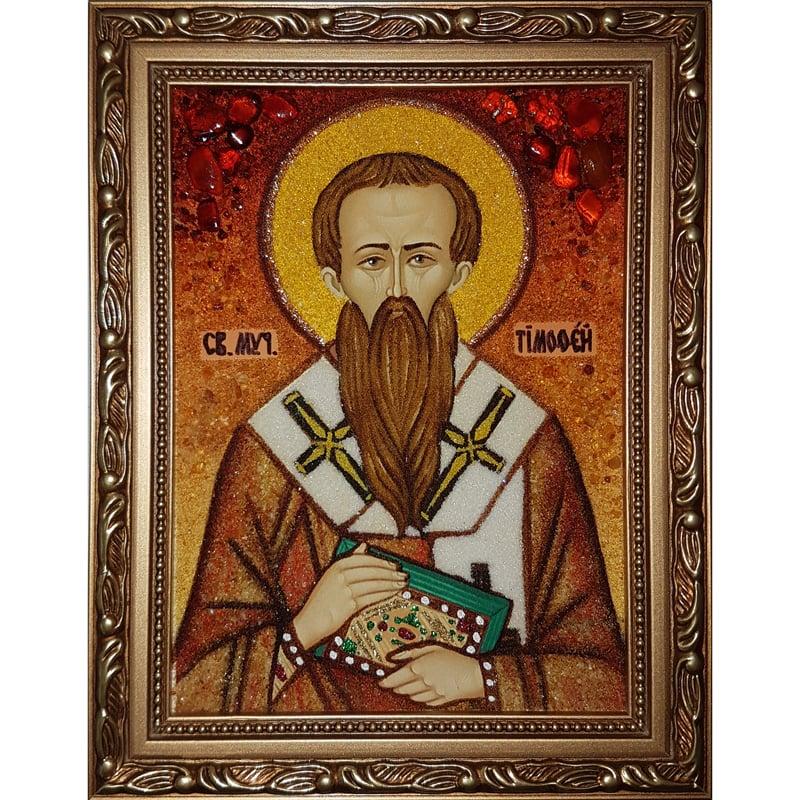 Икона в янтаре handmade Святой Тимофей