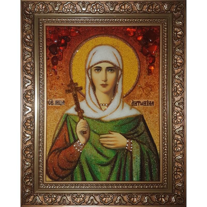 Именная икона handmade из янтаря Святая Антонина