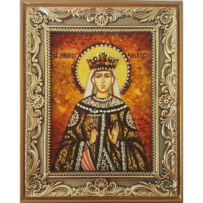 Именная икона из янтаря в подарок Святая Милица Сербская