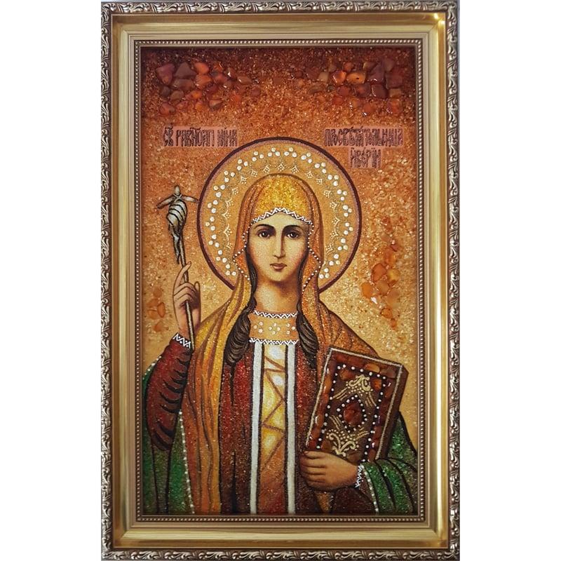 Икона в подарок из янтаря именная Святая Нина