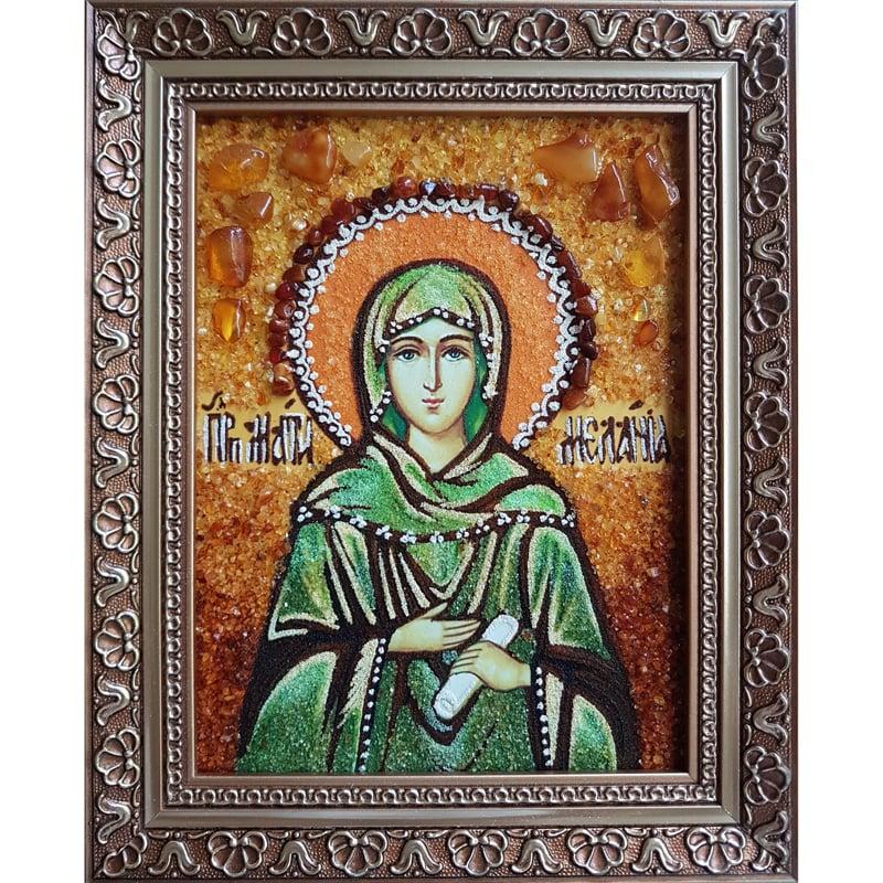 Именная икона из янтаря в подарок Святая Мелания