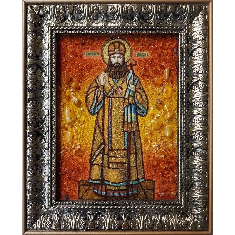 Икона именная из янтаря handmade Святой Тихон