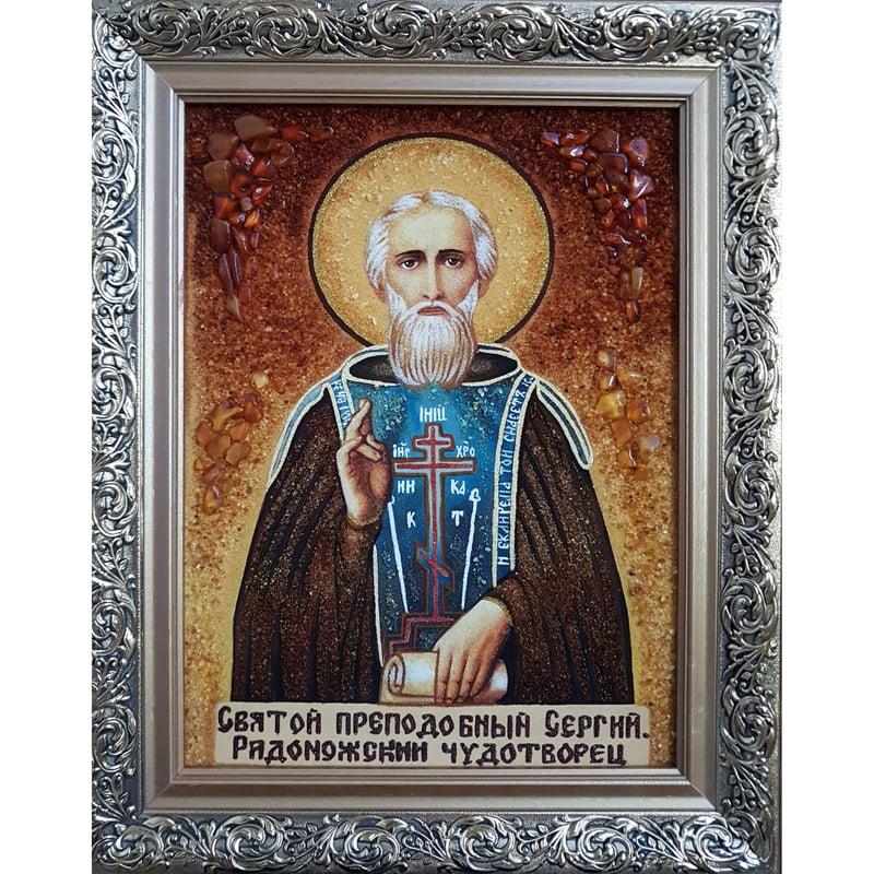 Именная икона из янтаря handmade Святой Сергей