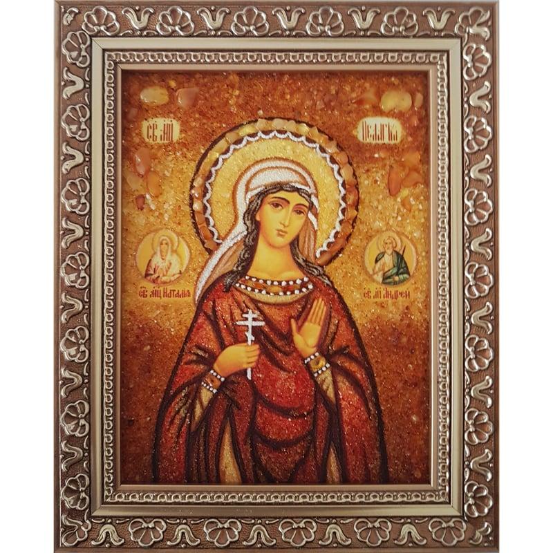 Икона из янтаря именная в подарок Святая Пелагея