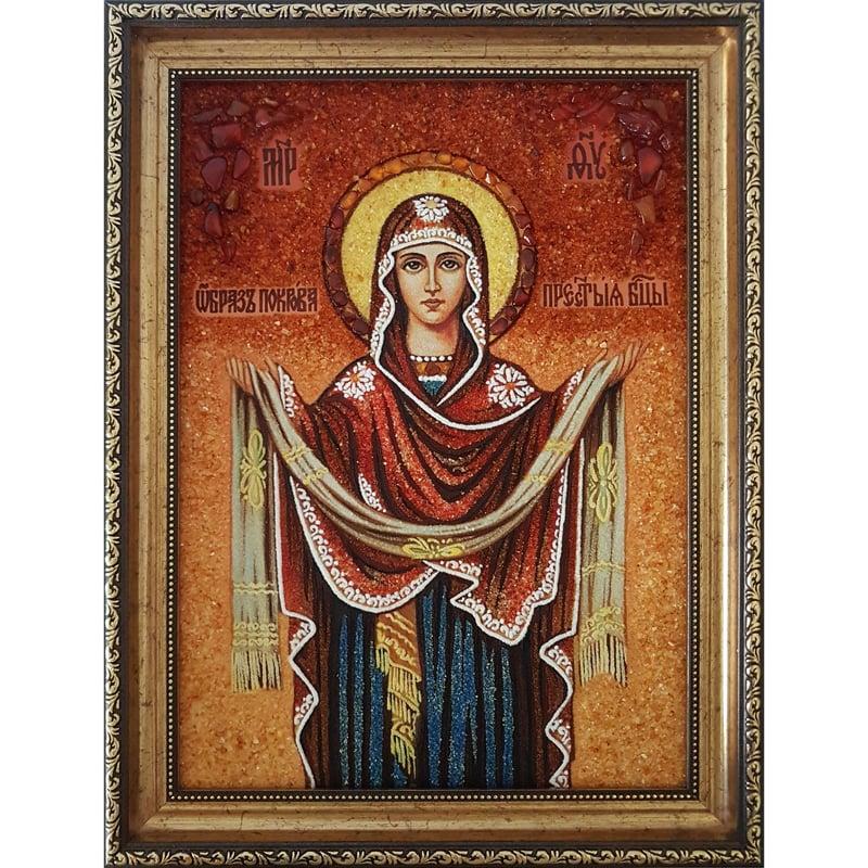 Икона в янтаре в подарок Покрова Пресвятой Богородицы