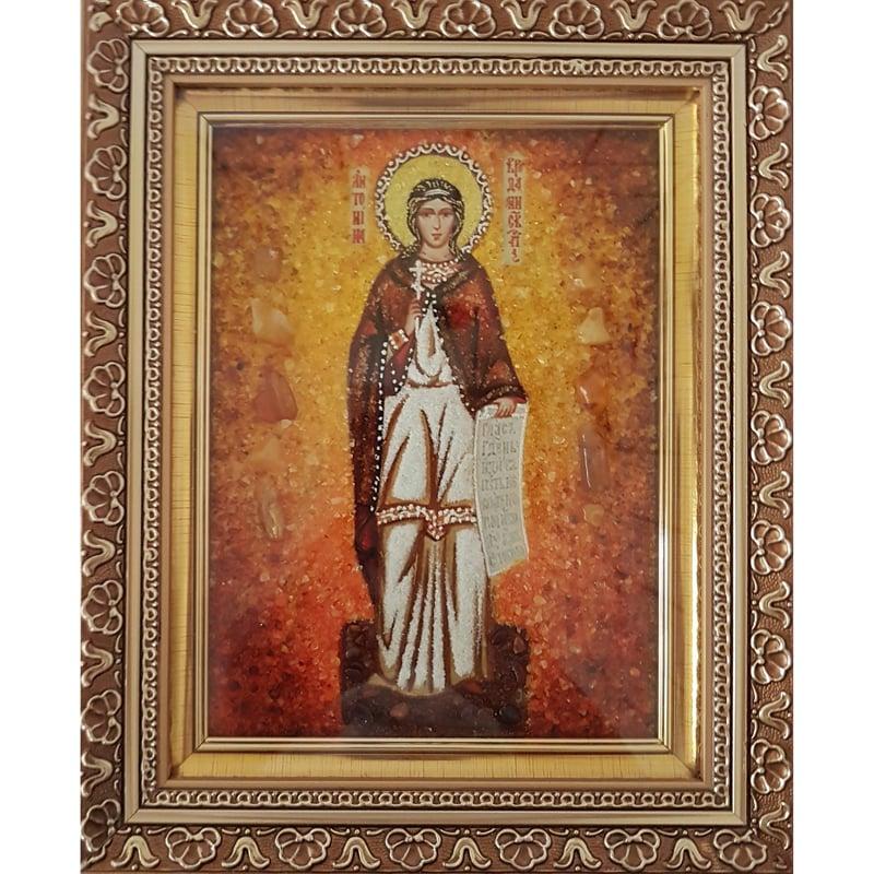 Именная янтарная икона в подарок Святая Антонина