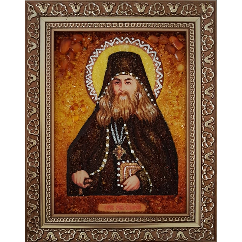 Янтарная икона в подарок имениннику Святой Лев
