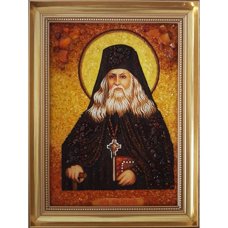 Икона именная из янтаря в подарок Святой Лев