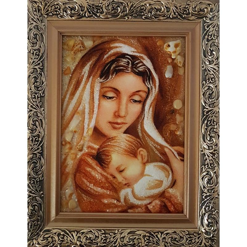 Икона в янтаре в подарок Мадонна с Младенцем