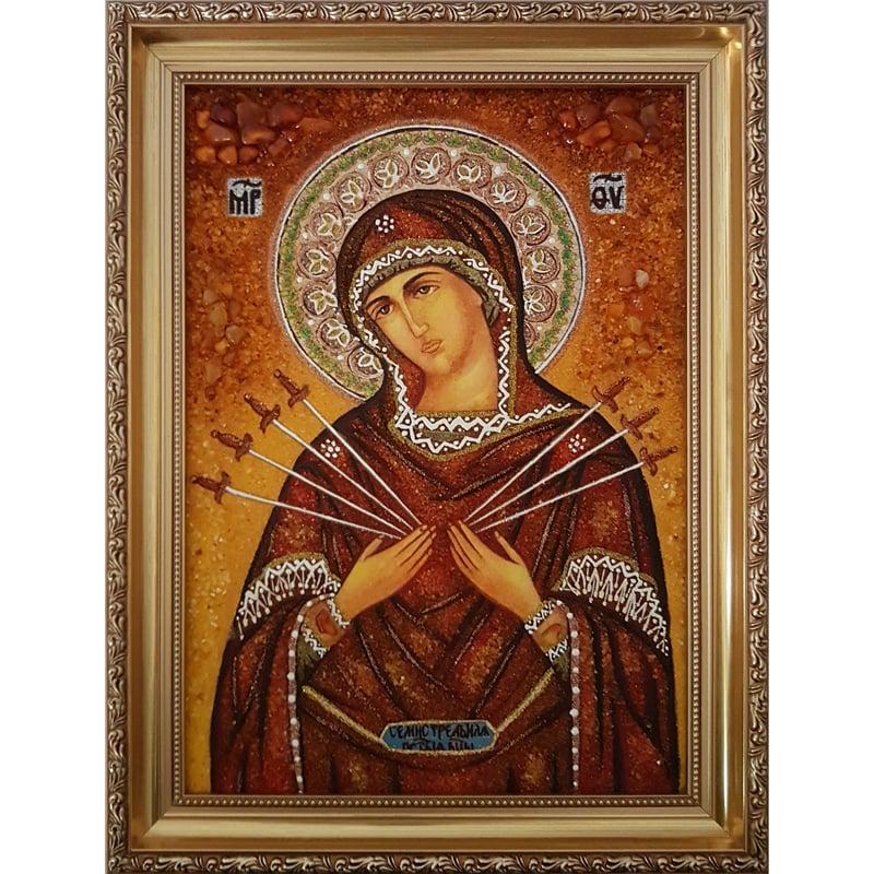 Икона из янтаря в подарок Божьей Матери Семистрельная