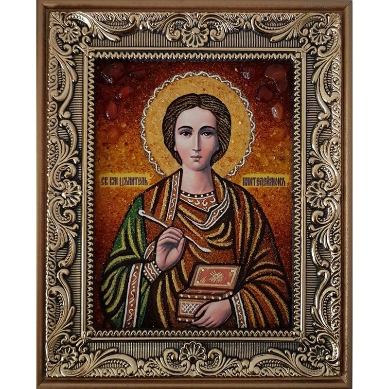 Именная икона в подарок из янтаря Святой Пантелеймон