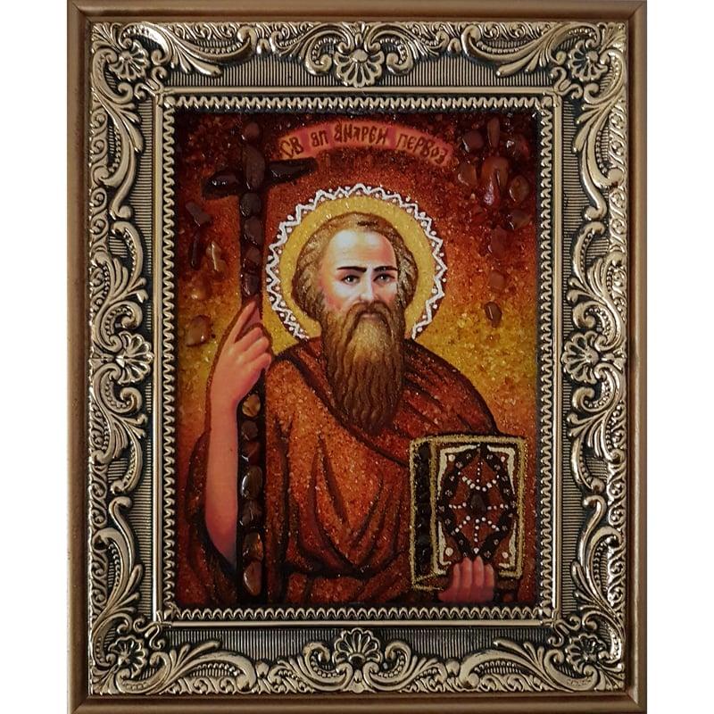 Именная икона из янтаря в подарок Святой Андрей
