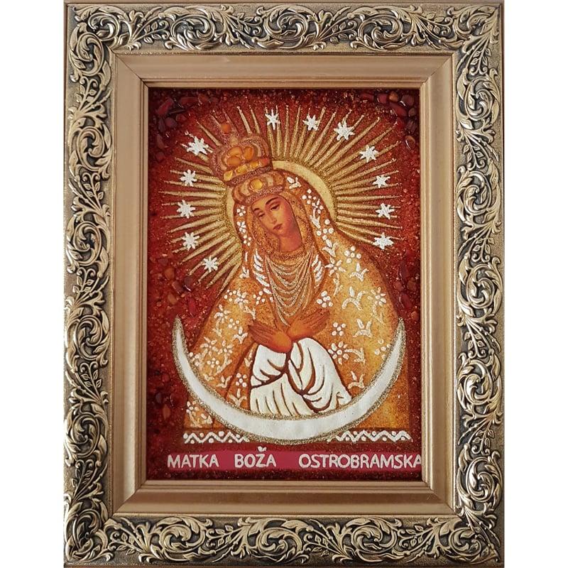 Икона из янтаря в подарок Божьей Матери Остробрамской