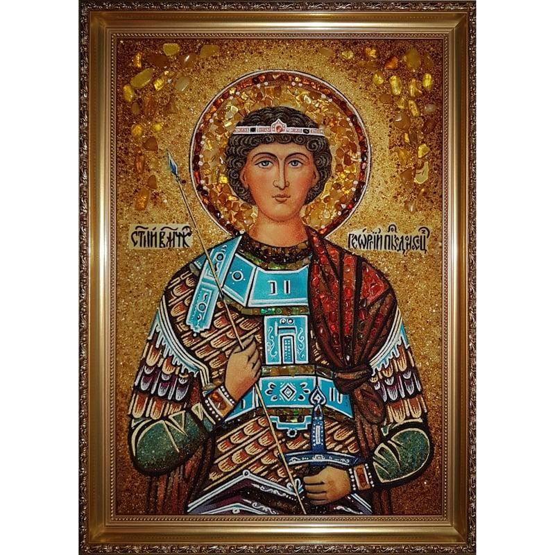 Именная икона в подарок из янтаря Святой Георгий