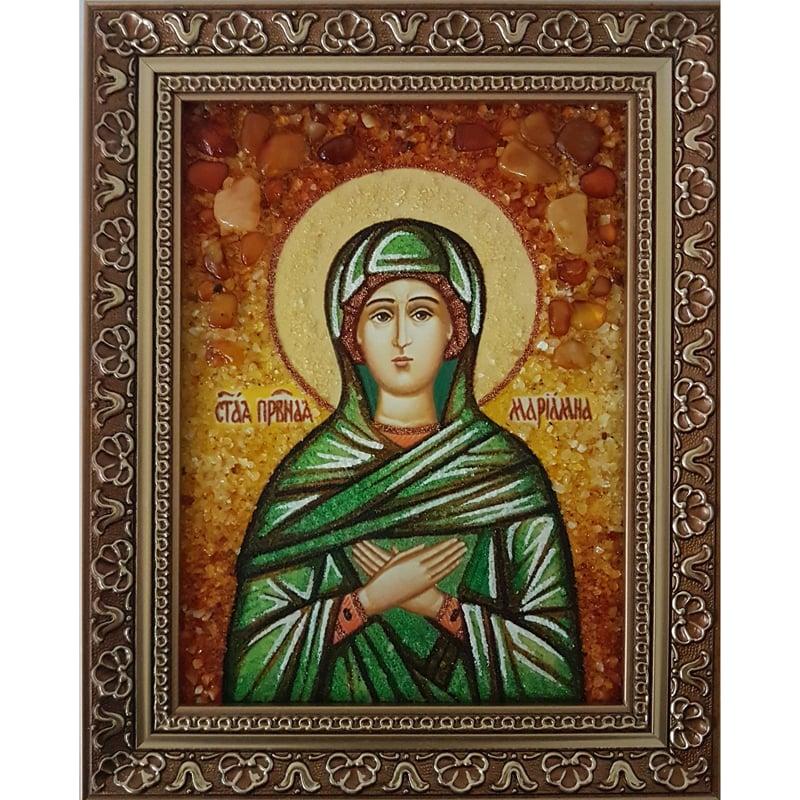 Янтарная именная икона ручной работы Святая Мариамна