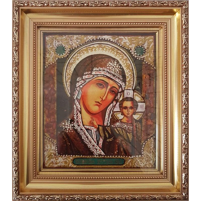 Икона из янтаря венчальная пара Казанская Богородица в подарок