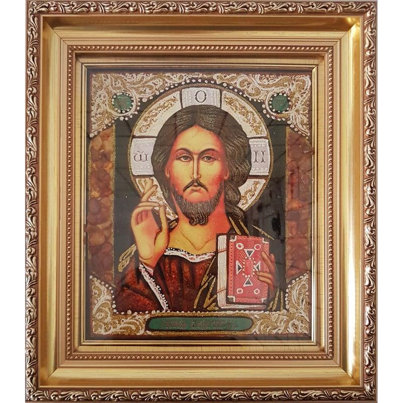 Икона в янтаре в подарок Казанский Спаситель